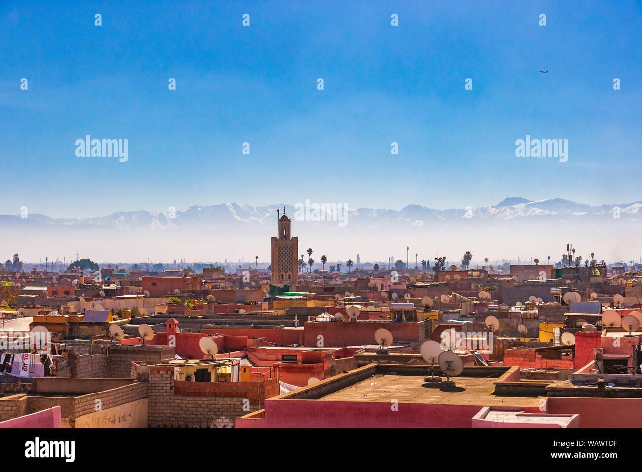 A Panoramic view of Marrakesh old town Medina Stock Photo