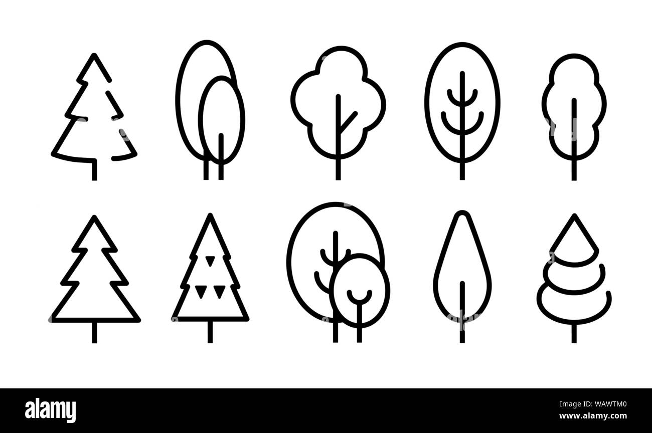 Tall Tree vector icons set. Simple flat line style icon design ...