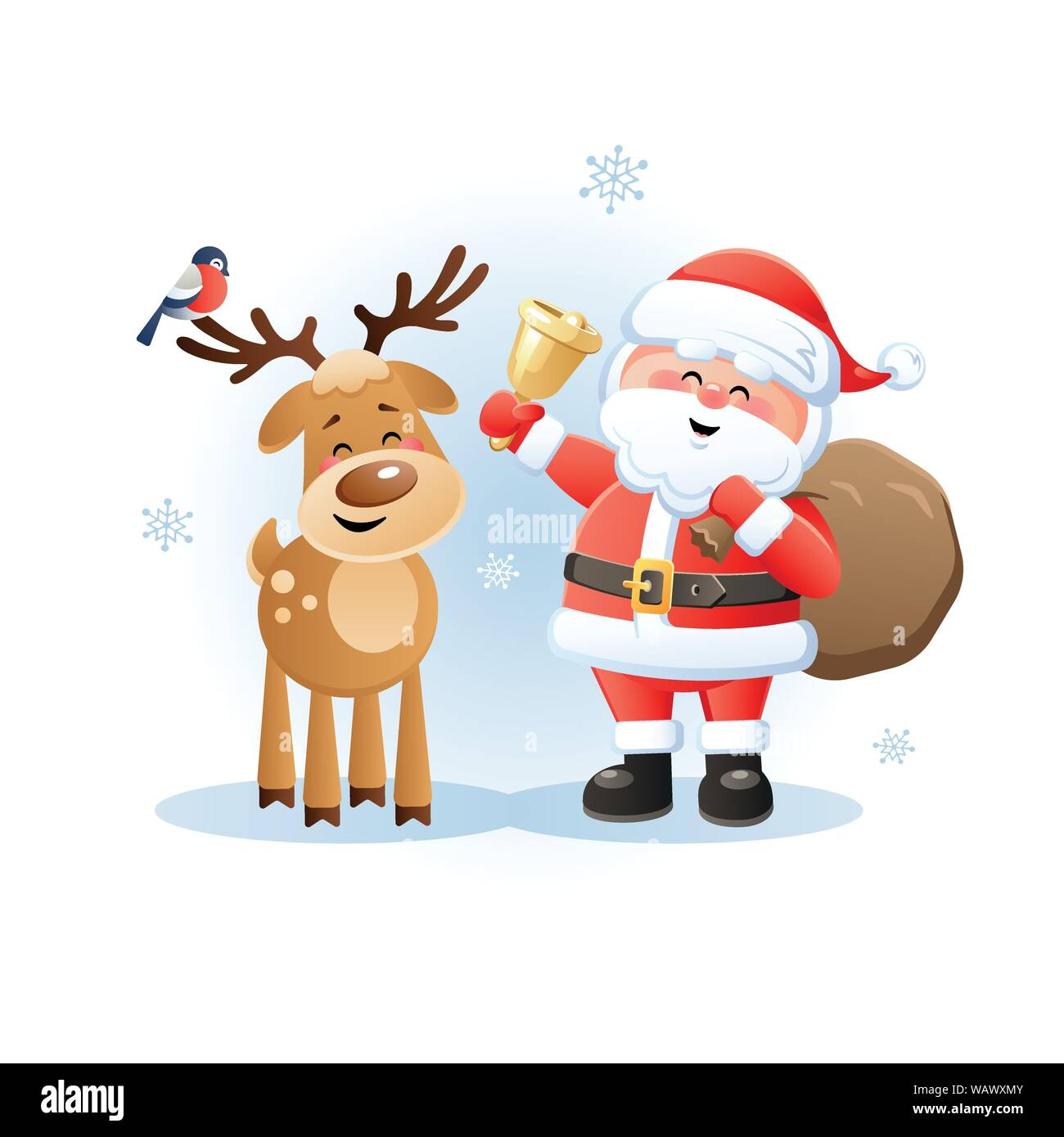 merry santa claus with reindeer and bullfinch cute christmas cartoon character vector illustration without transparent objects stock vector image art alamy https www alamy com merry santa claus with reindeer and bullfinch cute christmas cartoon character vector illustration without transparent objects image264871851 html