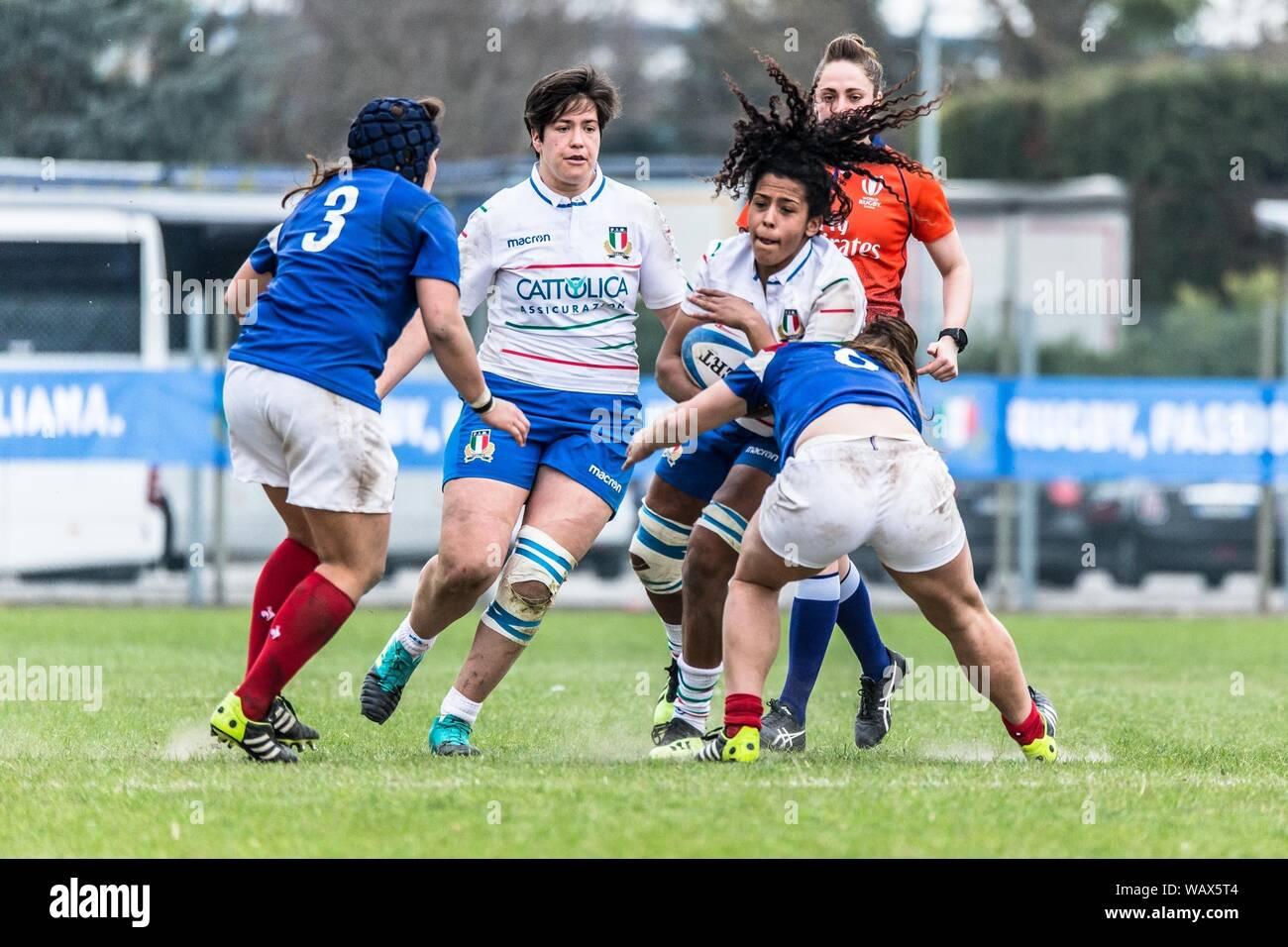 Giada Franco during ITALIA VS FRANCIA - SEI NAZIONI FEMMINILE, Padova, Italy,  17 Mar 2019, Rugby Nazionale Italiana di Rugby Stock Photo - Alamy