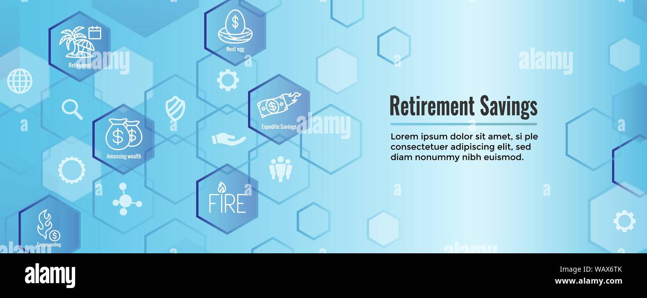 Retirement Savings Icon Set as well as Web Header Banner Stock Vector