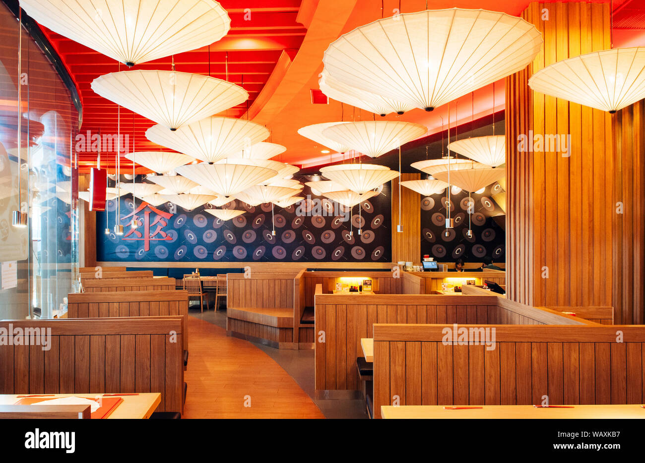 Oct 30 2013 Bangkok Thailand Vibrant Japanese Restaurant Interior Decorated Ceiling With Paper Umbrellas Warm Tone Lighting And Wooden Furniture Stock Photo Alamy