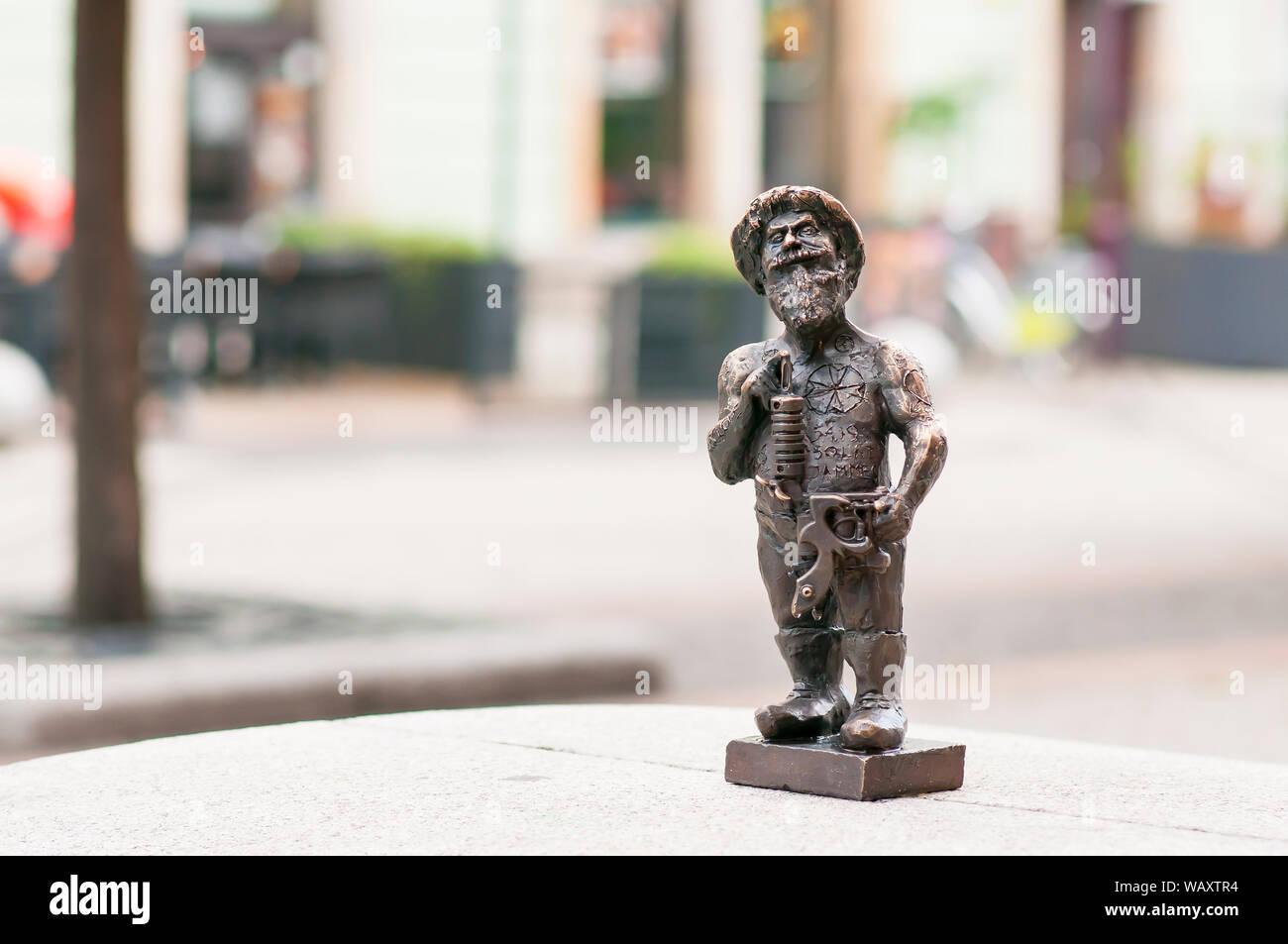 Wroclaw dwarf, gnome in Wroclaw main square. Poland Stock Photo