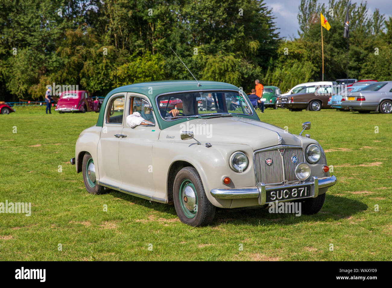 Rover 90, 1956, Reg No: SUC 871, at the Camerton Classic Car Show 11-08-2019 Stock Photo
