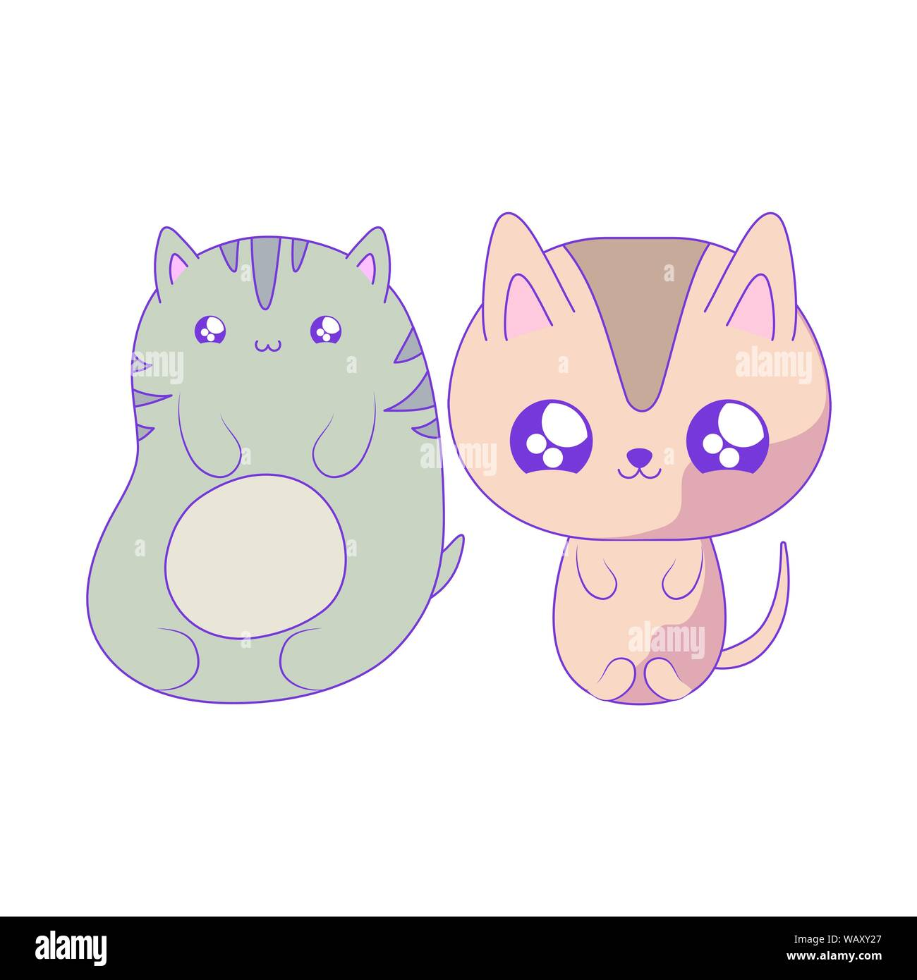 Group Of Cute Cats Baby Animals Kawaii Style Vector Illustration Design Stock Vector Image Art Alamy