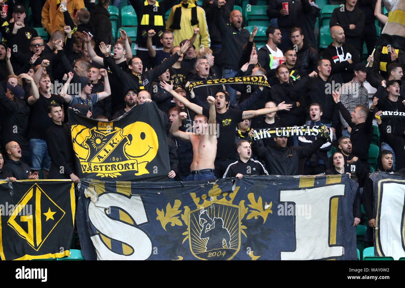Aik Fans In The Stands Prior To The Uefa Europa League Play Off First Leg Match At Celtic Park Glasgow Stock Photo Alamy