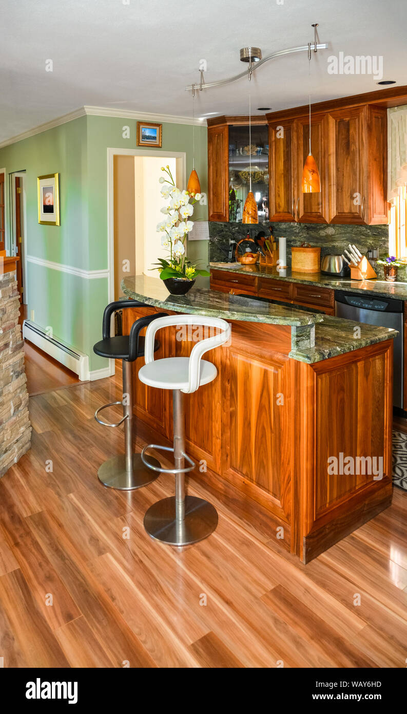 Stylish Kitchen Wooden Interior With Island Table And Two Chairs In Front Stock Photo Alamy