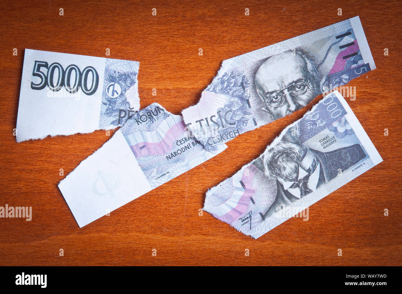 concept for Czech currency devaluation or economic crisis Stock Photo