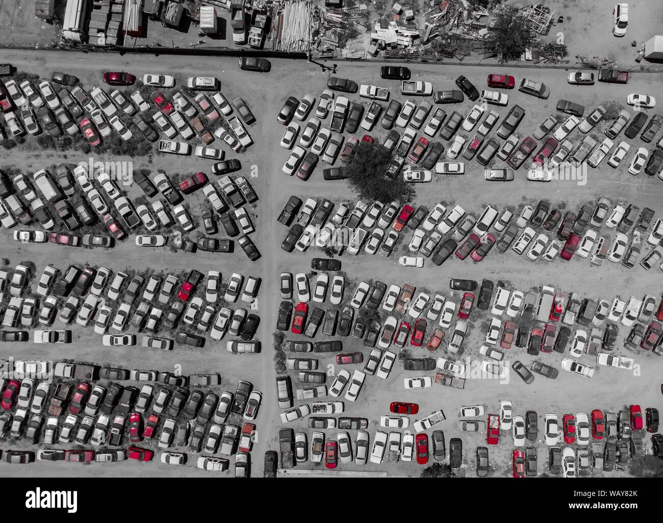 Aerial view of cars in the corralón, municipal corralón, cars stopped,Vista aerea de autos en el corralón, corralón municipal, automóviles detenidos. Hermosillo. Sonora. Photo: (NortePhoto / LuisGutierrez) keywords: aerial, aerial, aerial photo, aerial photography, urban, urbanity, city, many, lines, rectangle, rectangles, geometry, several, car, cars, motoring, cars, lanscape, urban landscape, luz de dia, daylight, aerial, aerea, aerial photo, aerial photography, urban, urbanidad, ciudad,  muchos, lineas, rectángulo, rectángulos, geometria, varios, car, cars, automovilismos , automóviles, lan Stock Photo