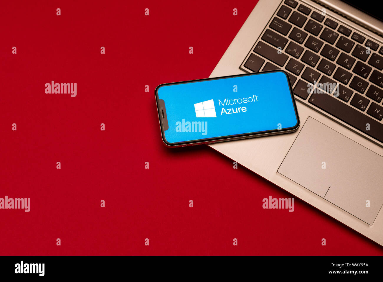 Tula Russia August 19 2019 Microsoft Azure Displayed On A Iphone X Near Modern Laptop On Red Background Stock Photo Alamy