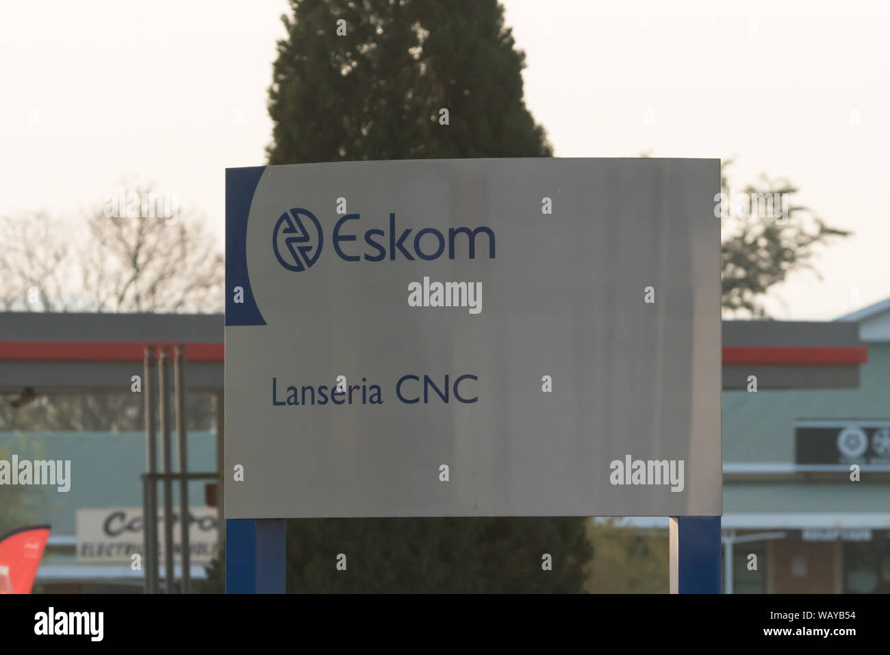 Eskom sign board or signage in the road at Lanseria, Johannesburg, Gauteng, South Africa Stock Photo