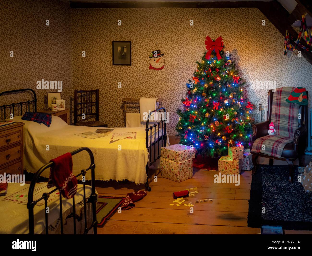 Traditional childrens room at Christmas, Nunnington Hall, North Yorkshire, UK. Stock Photo
