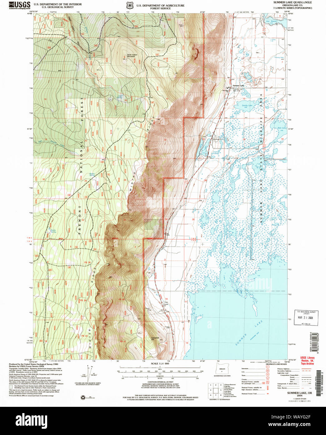 summer lake oregon map Usgs Topo Map Oregon Summer Lake 281687 2004 24000 Restoration