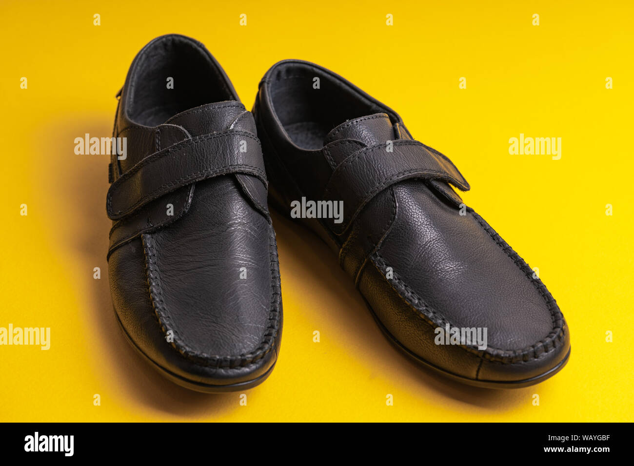 Black childrens school shoes with