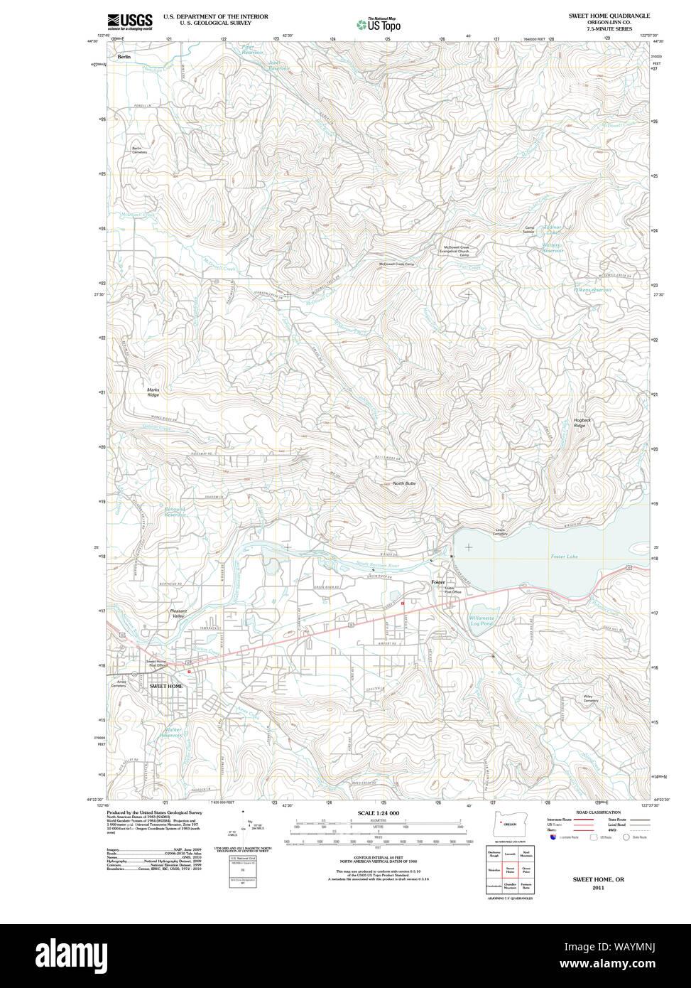Usgs Topo Map Oregon Sweet Home 20110908 Tm Restoration Stock