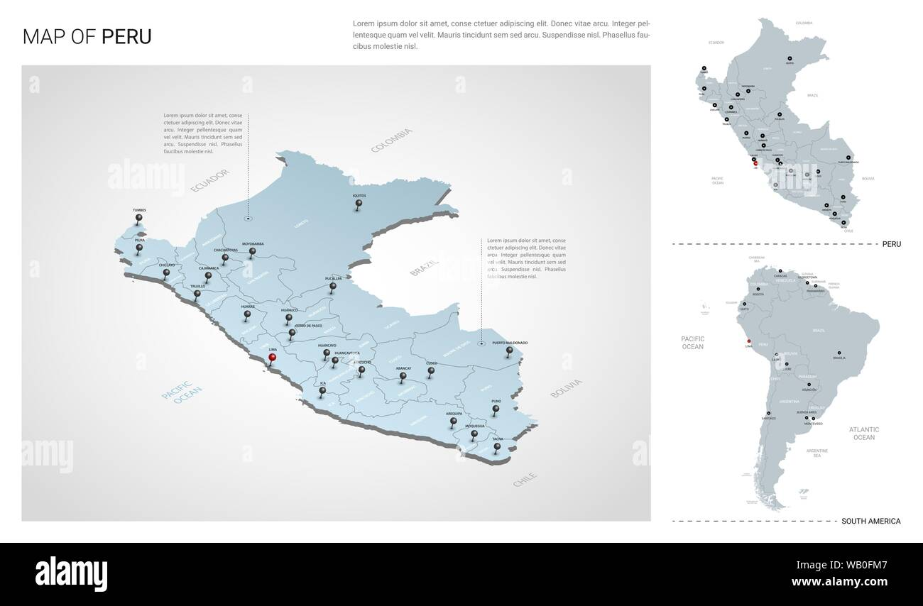 Vector set of Peru country. Isometric 3d map, Peru map ...
