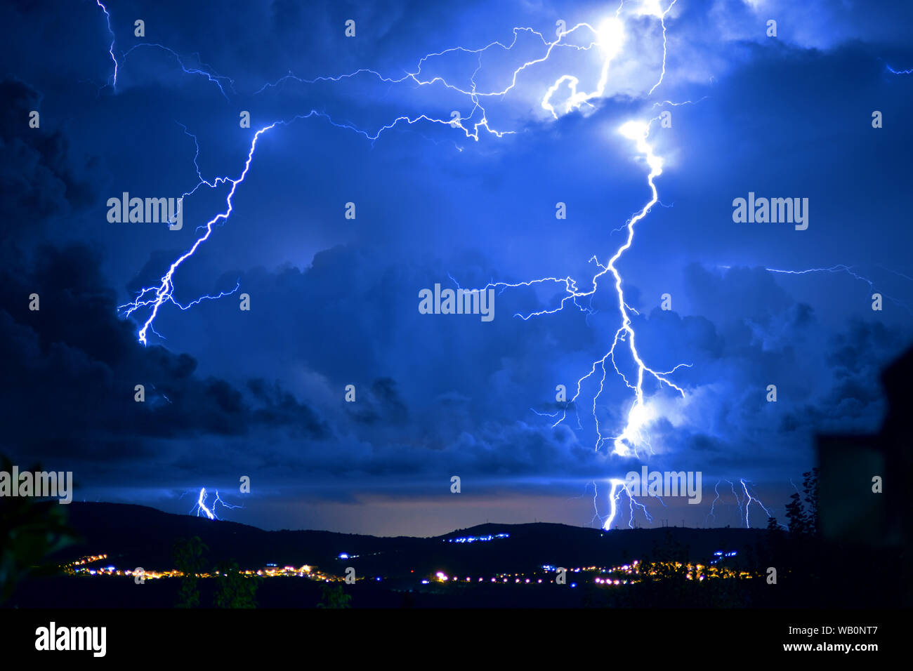 Dangerous storm with lightning and lightning Stock Photo