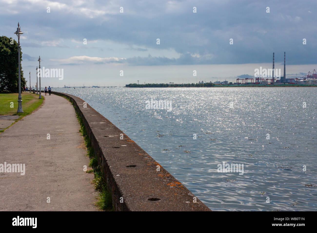 Dublin Port seen across Dublin Bay from Clontarf, Co. Dublin, Ireland Stock Photo