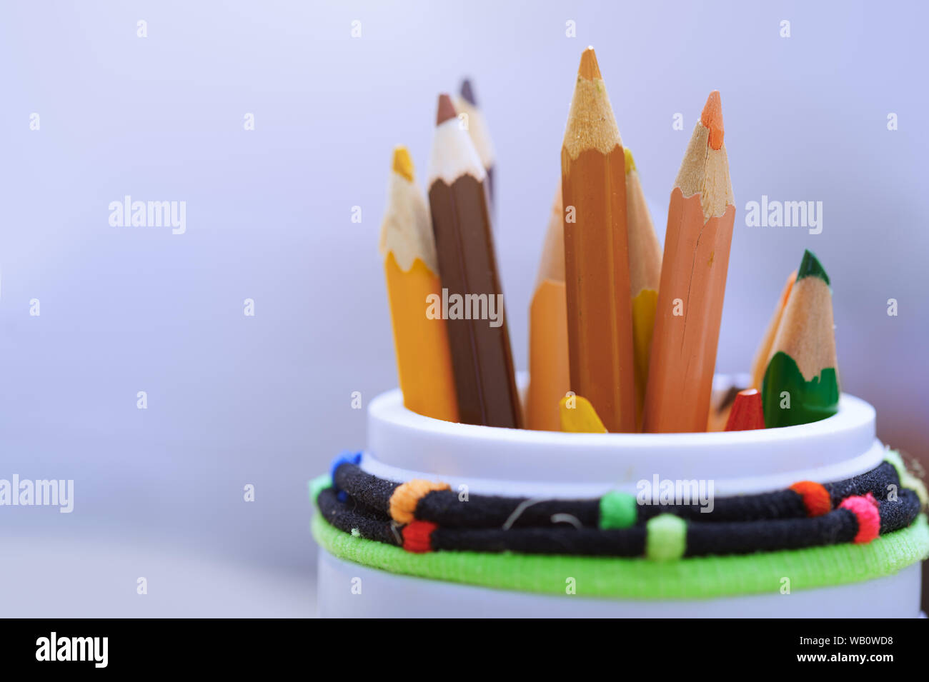 Color pencils in the plastic jar. Close-up Stock Photo