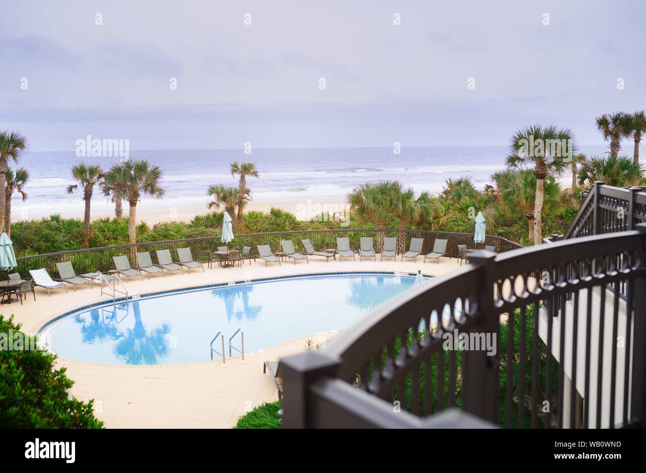 Swimming pool at the Atlantic Ocean Stock Photo