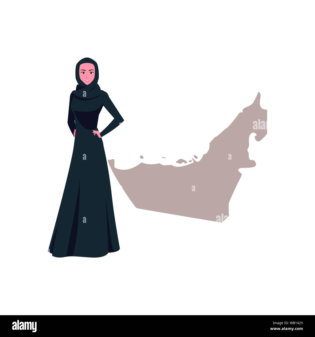 united arab emirates national day - arab woman with map vector illustration Stock Vector