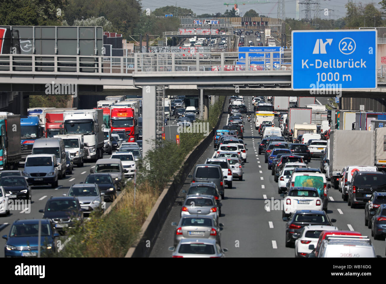 Cologne, Germany  23rd Aug, 2019  Vehicles on the Autobahn 3