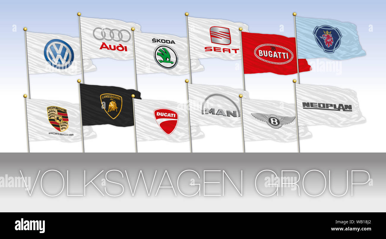 Volkswagen Group international car industry, flags with logos, illustration Stock Photo