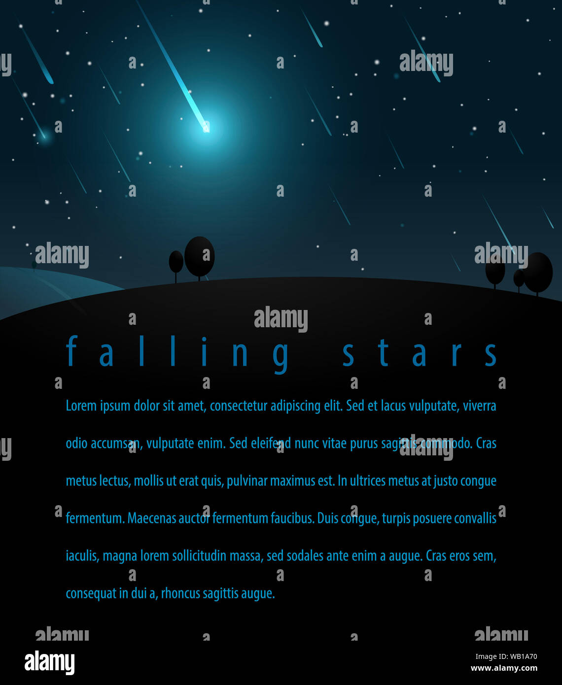 Falling stars in the night starry sky. Vector illustration for posters, flyers, print Webdesign Stock Photo