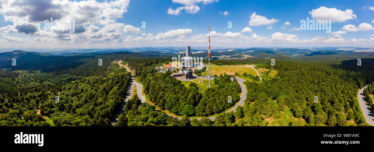 Germany, Hesse, Schmitten, Aerial view of Grosser Feldberg, aerial mast of hr and viewing tower, Oberreifenberg in the background Stock Photo