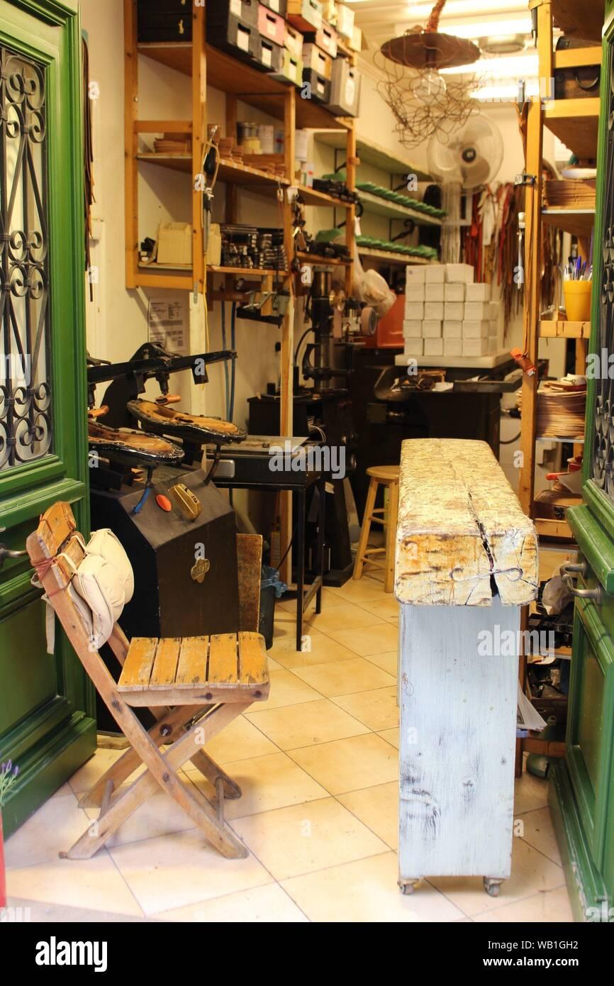 Cobbler shop in Greece Stock Photo - Alamy