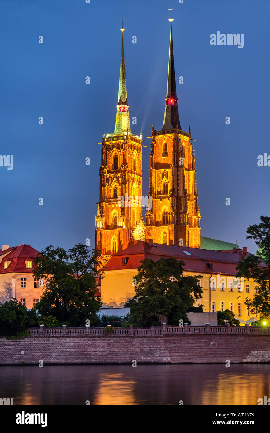 The Cathedral of St. John the Baptist in Wroclaw, Poland, at night Stock Photo