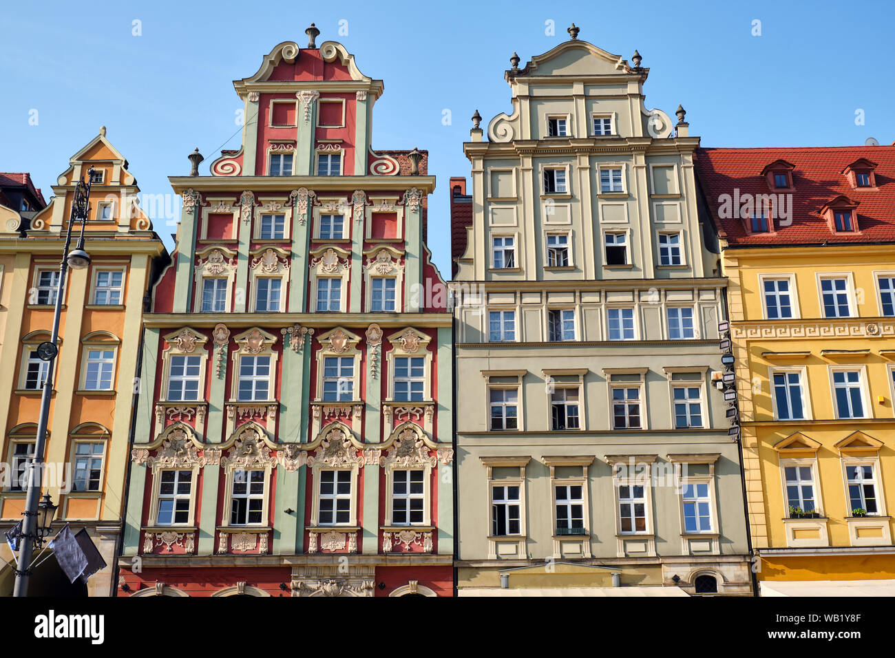 Beautiful multi colored houses at the market square in Wroclaw, Poland Stock Photo