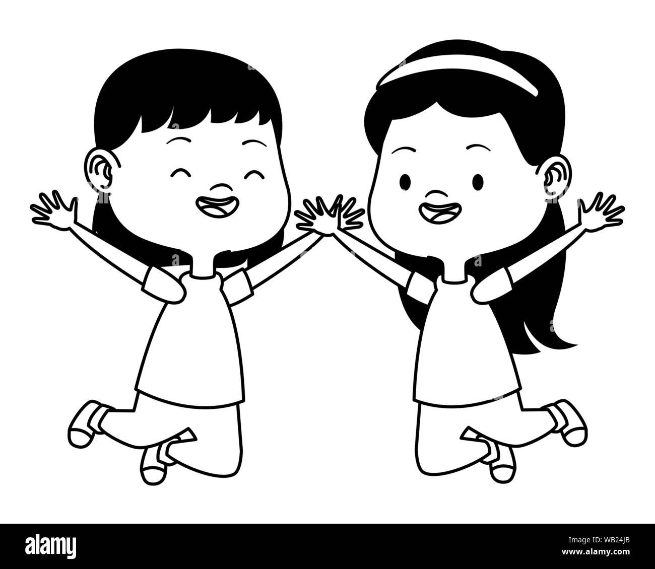 Cute Happy Kids Having Fun Cartoons In Black And White Stock Vector Image Art Alamy
