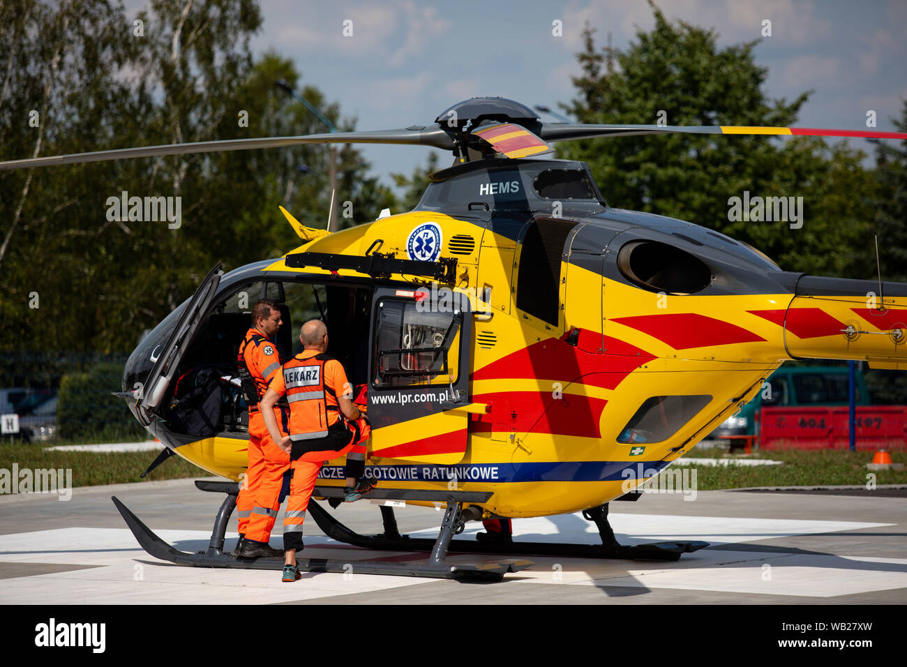Poland, Czestochowa - 06 August 2019: Air Ambulance (LPR) in action at the airstrip.  Helicopter ec-135 and  air ambulance in rescue. Stock Photo