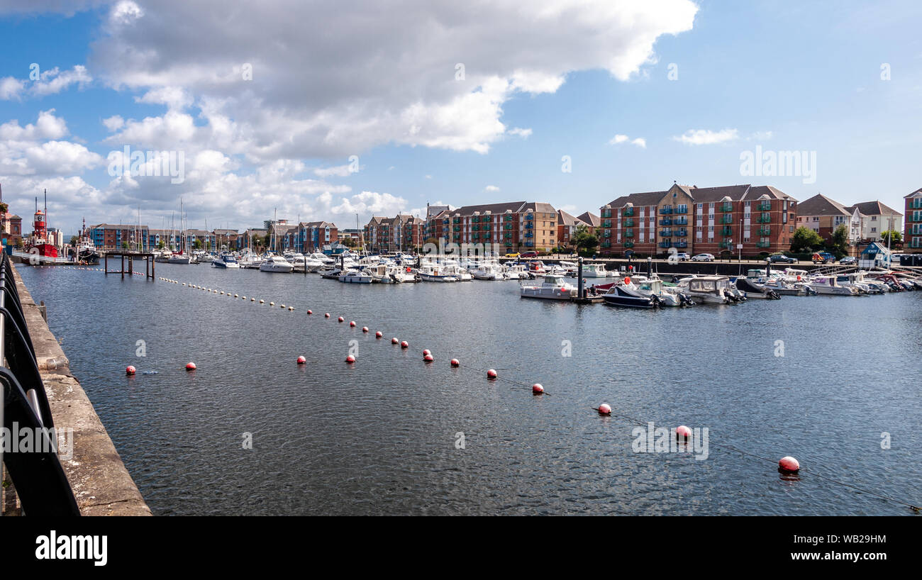 Panoramic view of Swansea Marina, Tawe Basin looking eastwards. The Helwick Light Vessel can be seeen on the left. Stock Photo