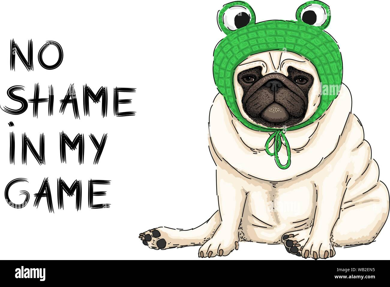 hand drawn vector illustration of cute cool pug puppy dog, sitting down with green crochet frog bonnet and text no shame in my game Stock Vector