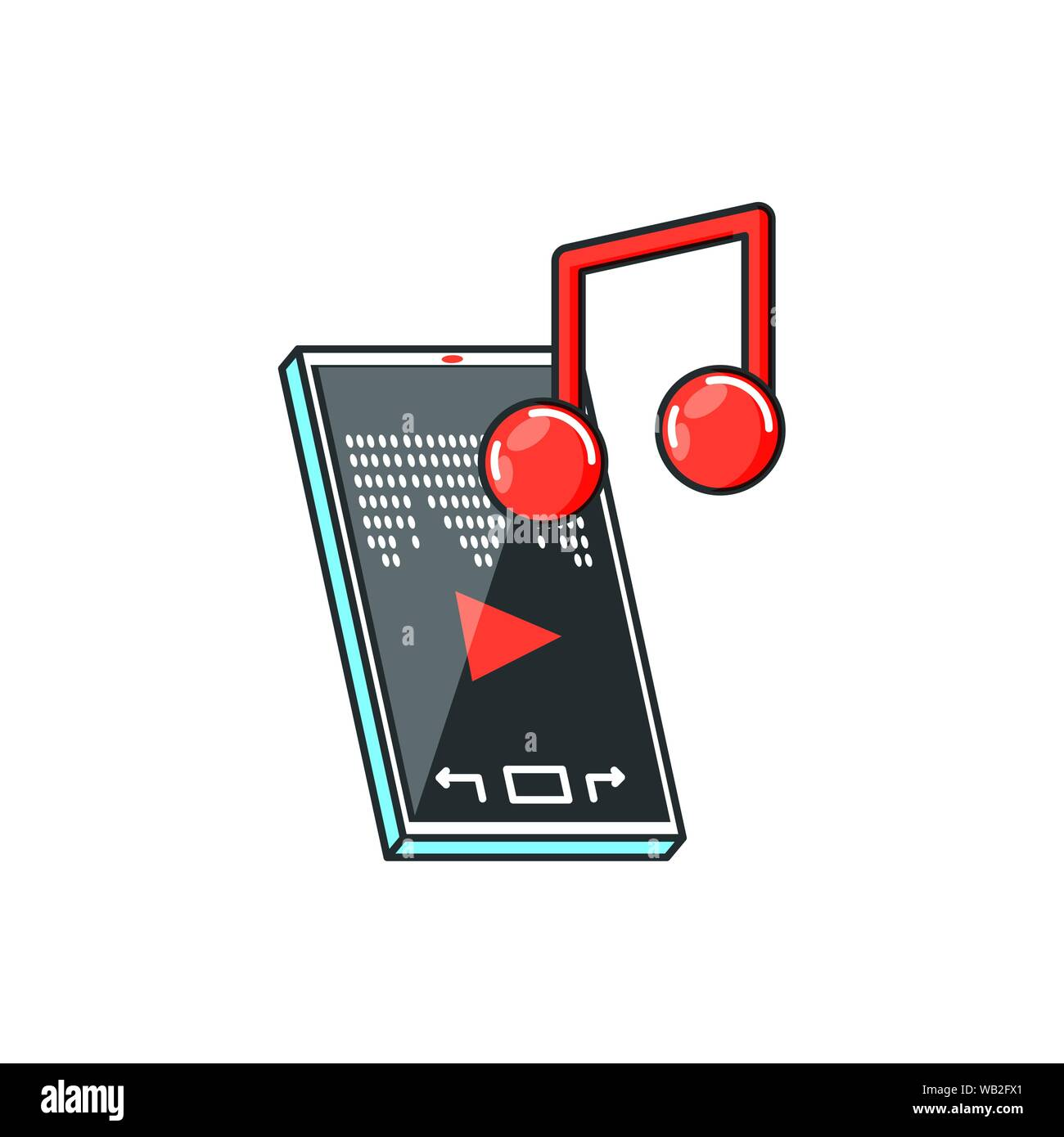 smartphone with media player and music note technology