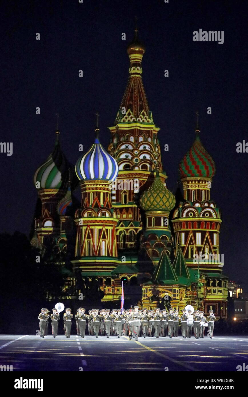 Moscow, Russia. 23rd Aug, 2019.  Members of the Military Band of the Korean People's Army of North Korea perform during the opening ceremony of the 12th Spasskaya Tower International Military Music Festival in Red Square. Credit: ITAR-TASS News Agency/Alamy Live News Stock Photo