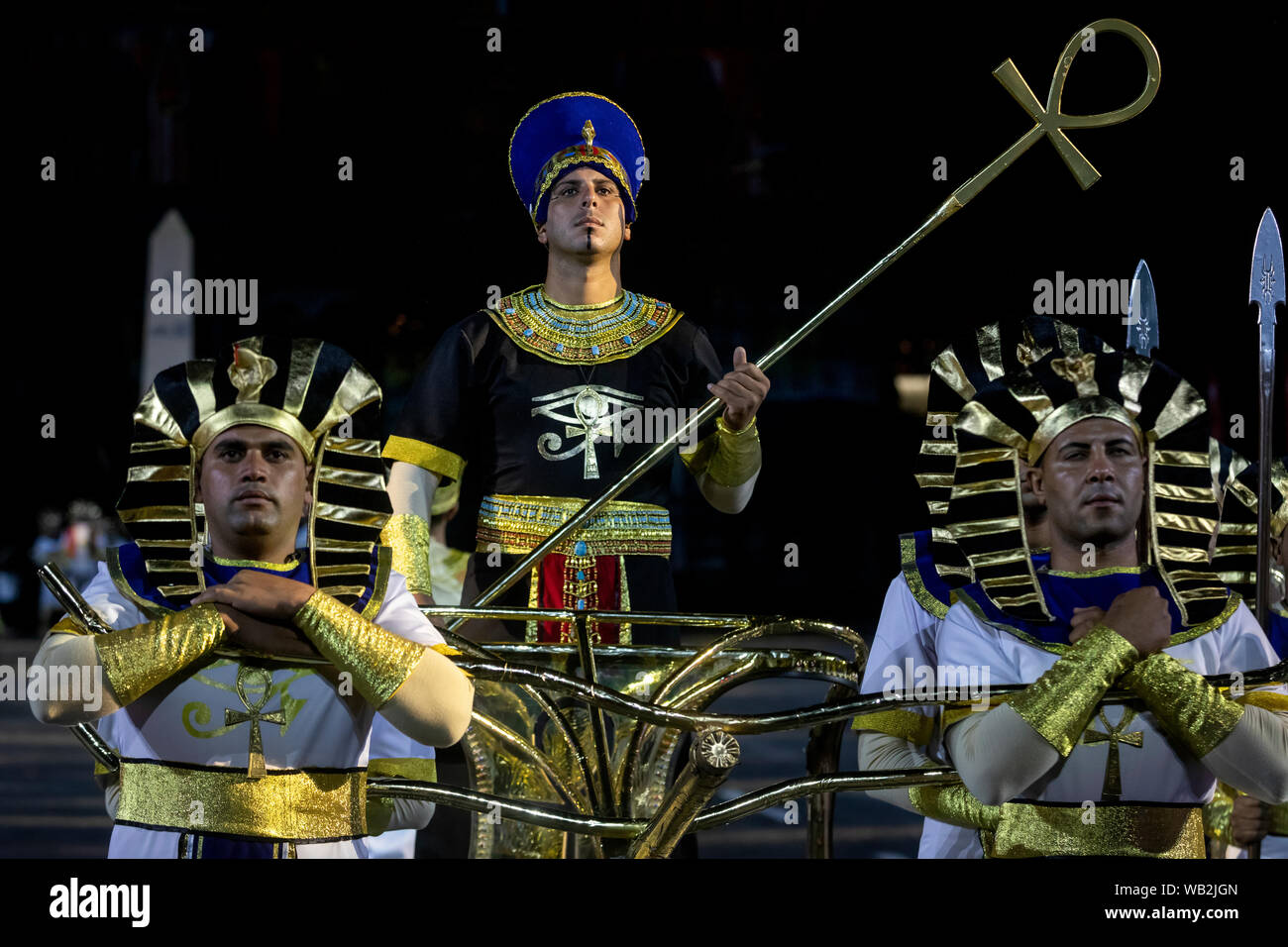 Members of the Egyptian Military Symphonic Band during during the 12th Spasskaya Tower International Military Music Festival in Moscow Stock Photo