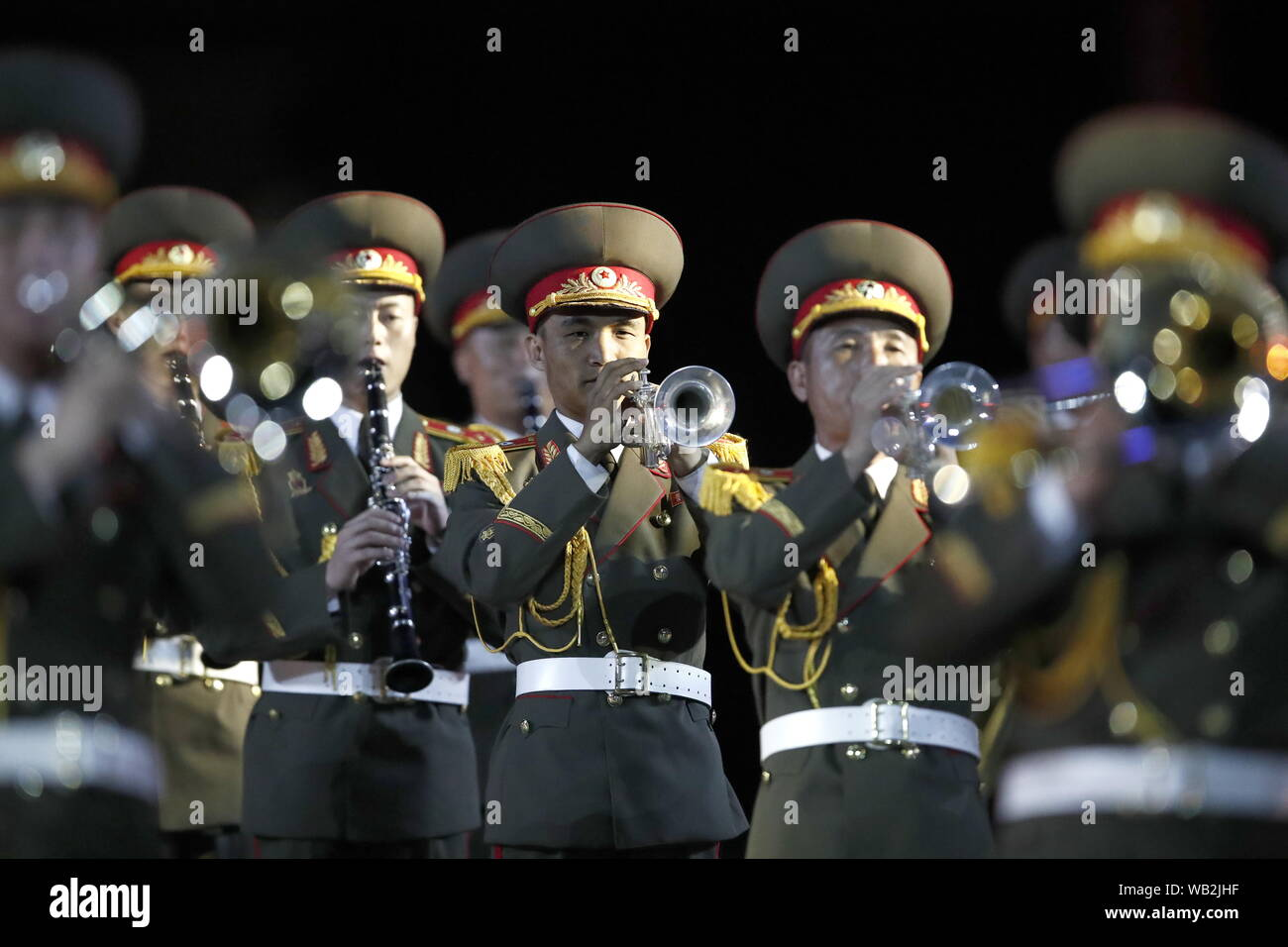 Moscow, Russia. 23rd Aug, 2019. MOSCOW, RUSSIA - AUGUST 23, 2019: Members of the Military Band of the Korean People's Army of North Korea perform during the opening ceremony of the 12th Spasskaya Tower International Military Music Festival in Red Square. Artyom Geodakyan/TASS Credit: ITAR-TASS News Agency/Alamy Live News Stock Photo
