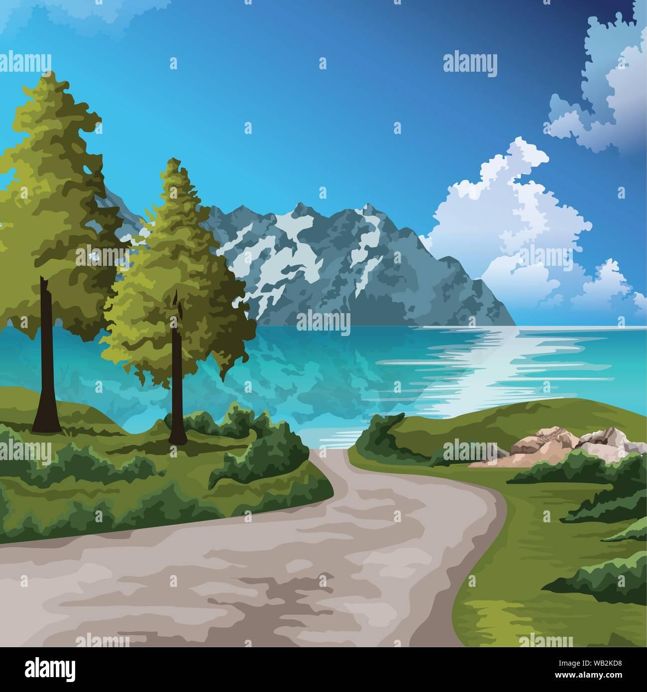 Beautiful Nature Landscape Drawing Scenery Stock Vector Image Art Alamy