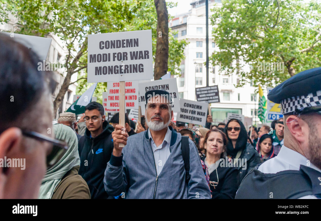 London, England, UK - August 15, 2019:Article 370, India's decision to revoke special autonomous status for the part of Kashmir. Protests Stock Photo