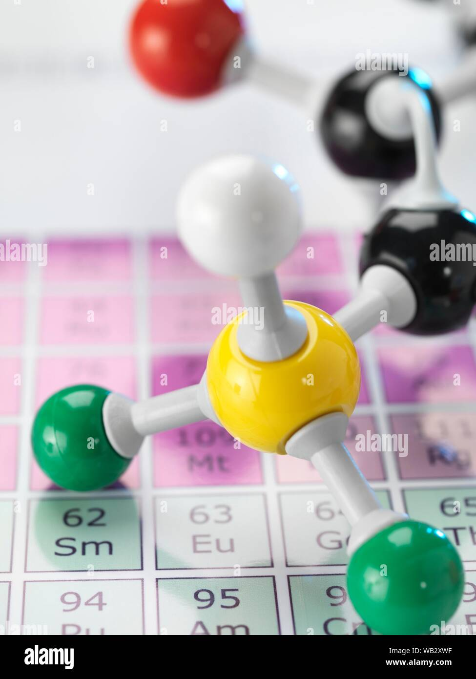 Chemistry, conceptual image. Ball and stick molecular model sitting on a periodic table Stock Photo