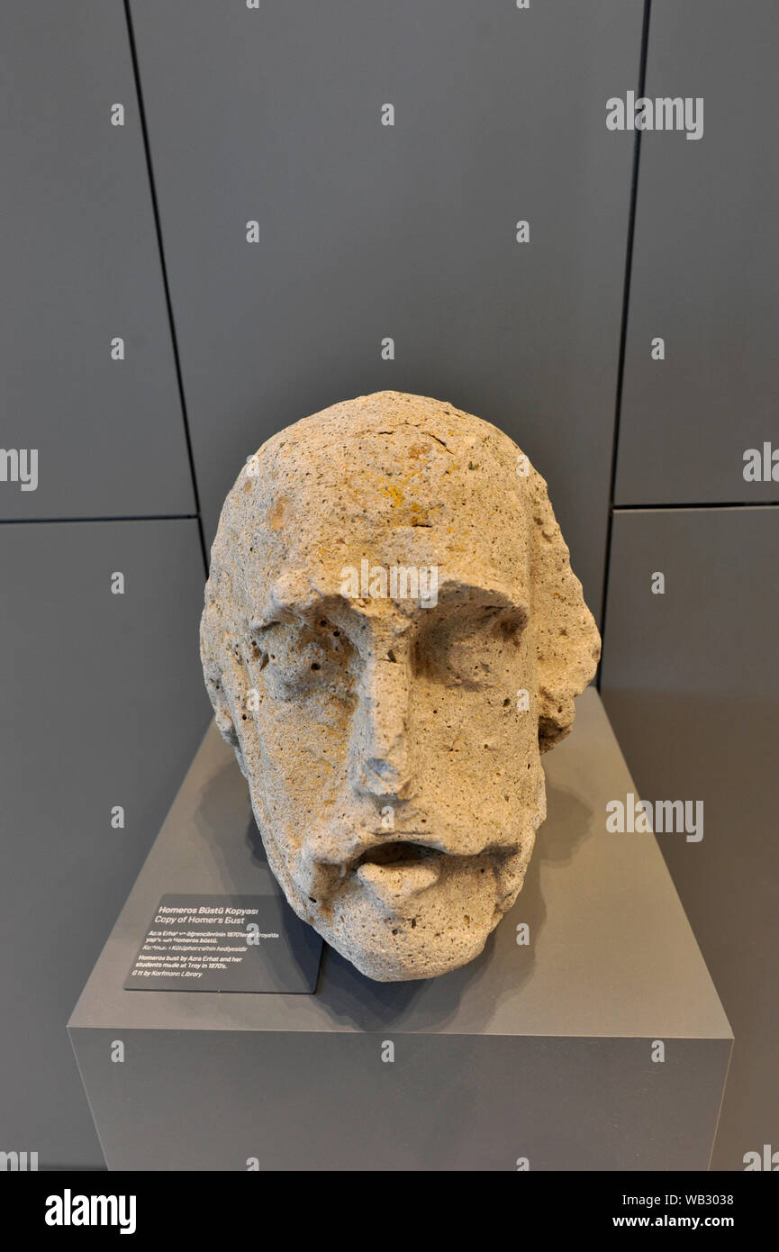 Stone carving bust of Homer at the Troy Museum in Canakkale, Turkey Stock Photo