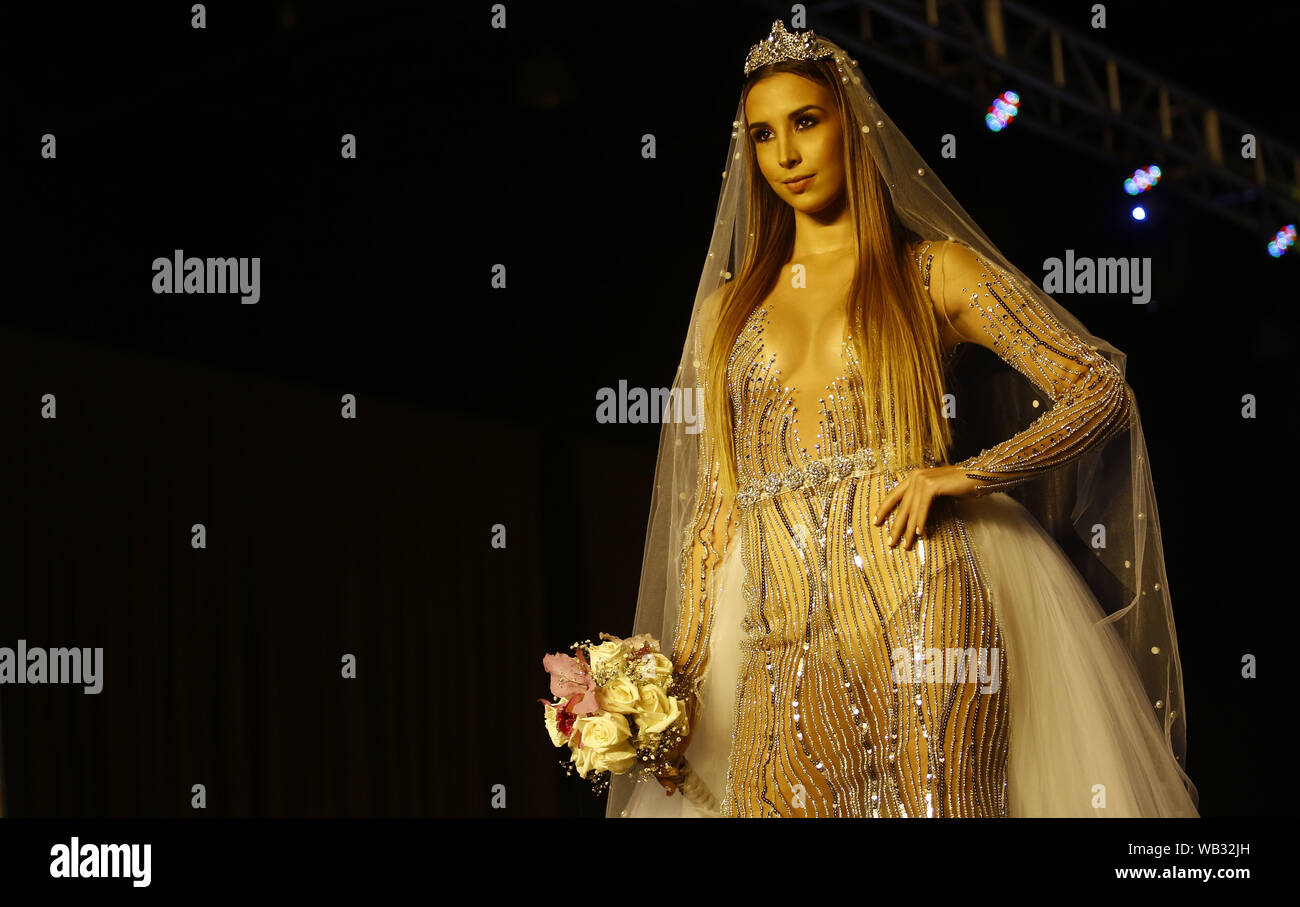 Valencia Carabobo Venezuela 22nd Aug 2019 August 23 2019 A Model Participates In The Fashion Show Come Together Of Fashion Designer Daniel Fabregas Who Included Among Its 150 Models People With Characteristics
