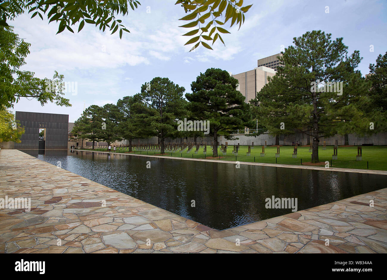 Oklahoma City, Oklahoma, USA. 22nd Aug, 2019. Aug 22, 2019, Oklahoma City, Oklahoma, The Oklahoma City National Memorial opened February 19, 2001 and honors the victims, survivors, and those affected by the Oklahoma City bombing on April 19, 1995. The memorial is located in downtown Oklahoma City on the former site of the Alfred P. Murrah Federal Building, which was destroyed in the 1995 bombing which occurred at 9:02 a.m. Credit: Ralph Lauer/ZUMA Wire/Alamy Live News Stock Photo