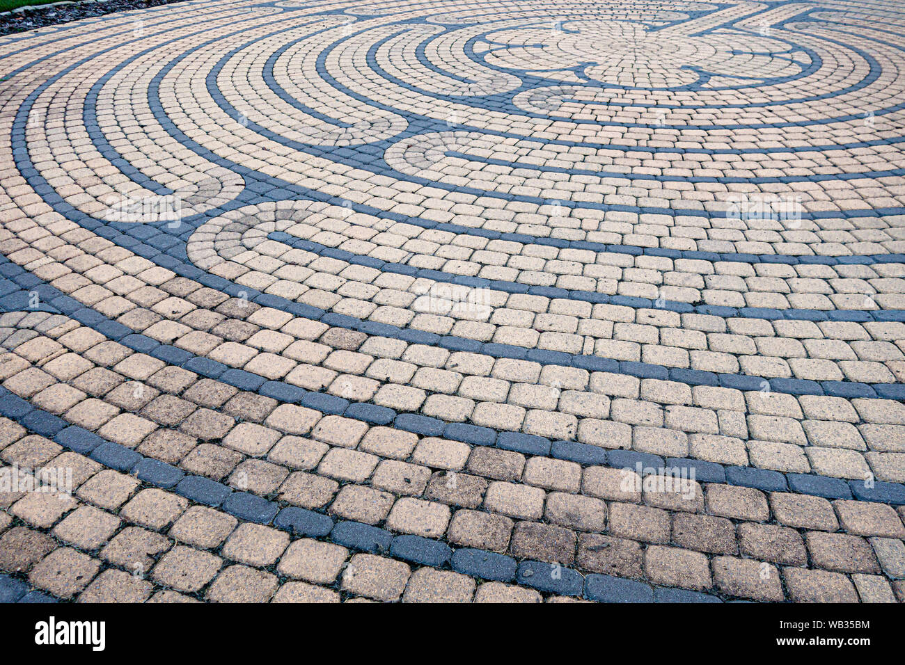 A Chartres Replica (medieval) style stone labyrinth located at the Western PA Conference United Methodist Church in Cranberry Township, Pennsylvania Stock Photo