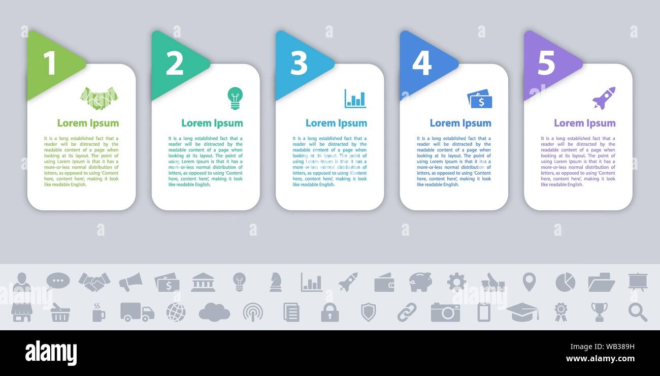 business infographic design template with 5 steps or