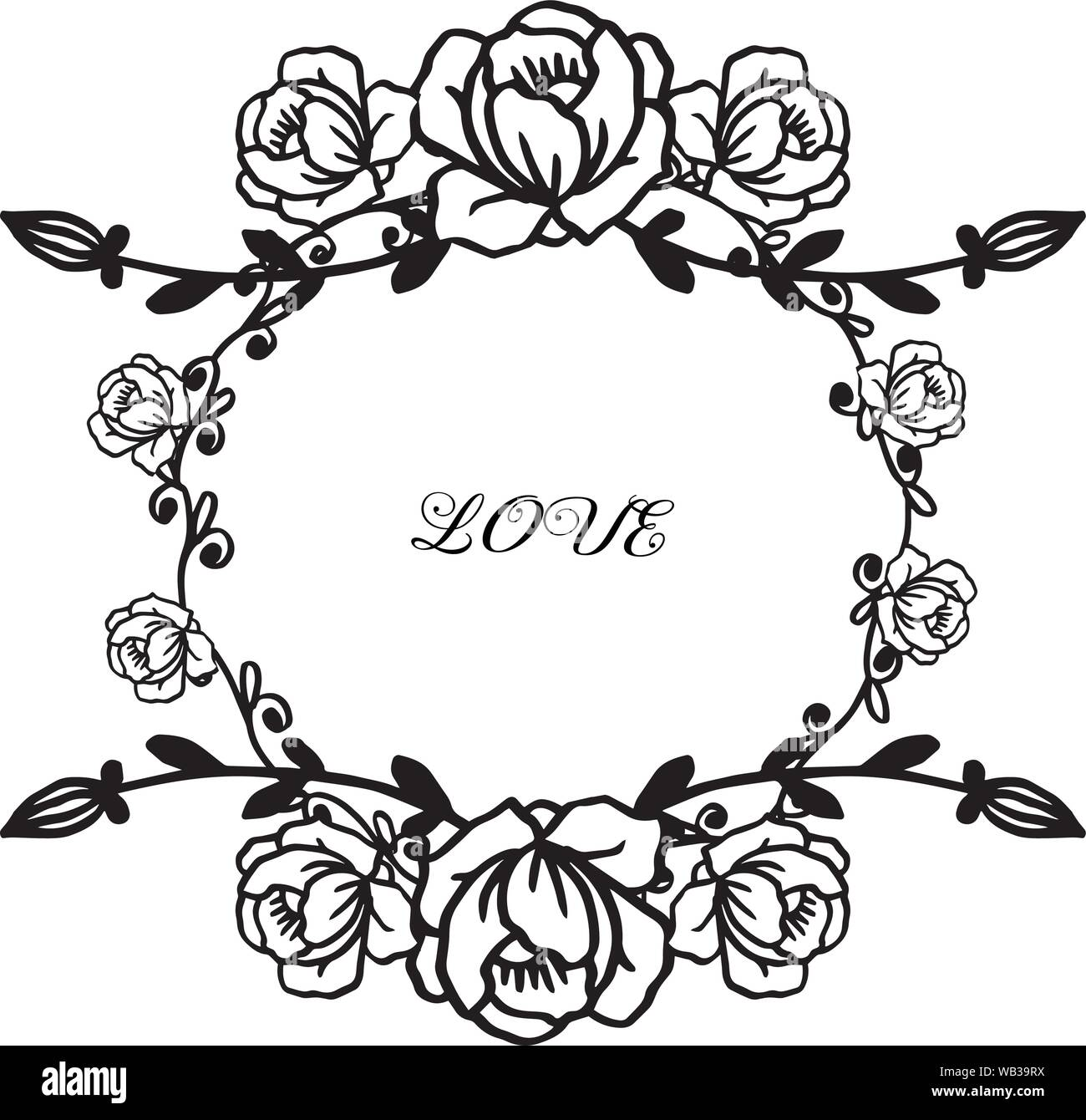 Drawing and sketch with black and white line art floral