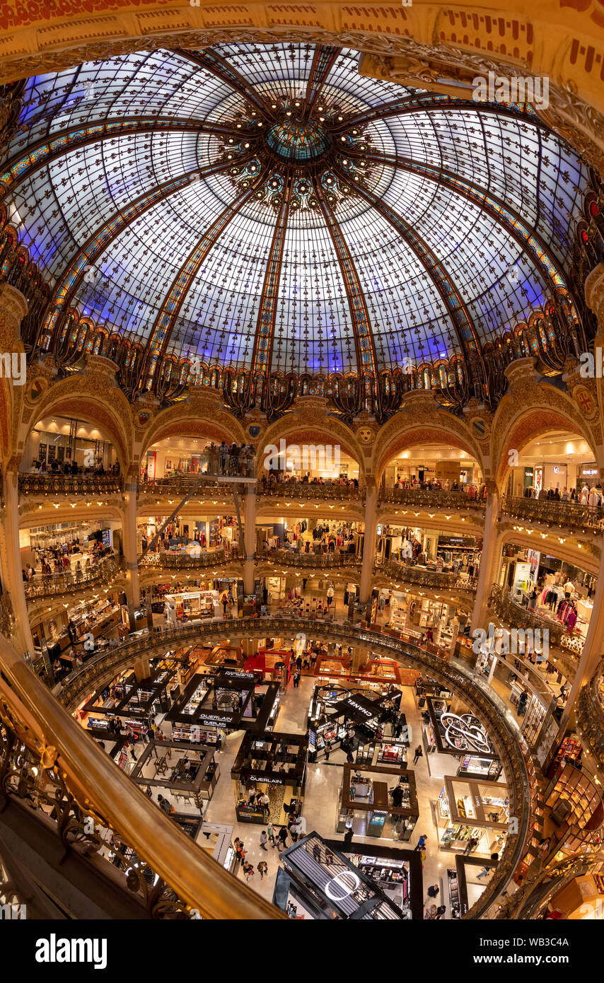 PARIS, FRANCE - August 16, 2019, Galeries Lafayette interior from top in Paris. People do shoping at department store. The architect Georges Chedanne Stock Photo